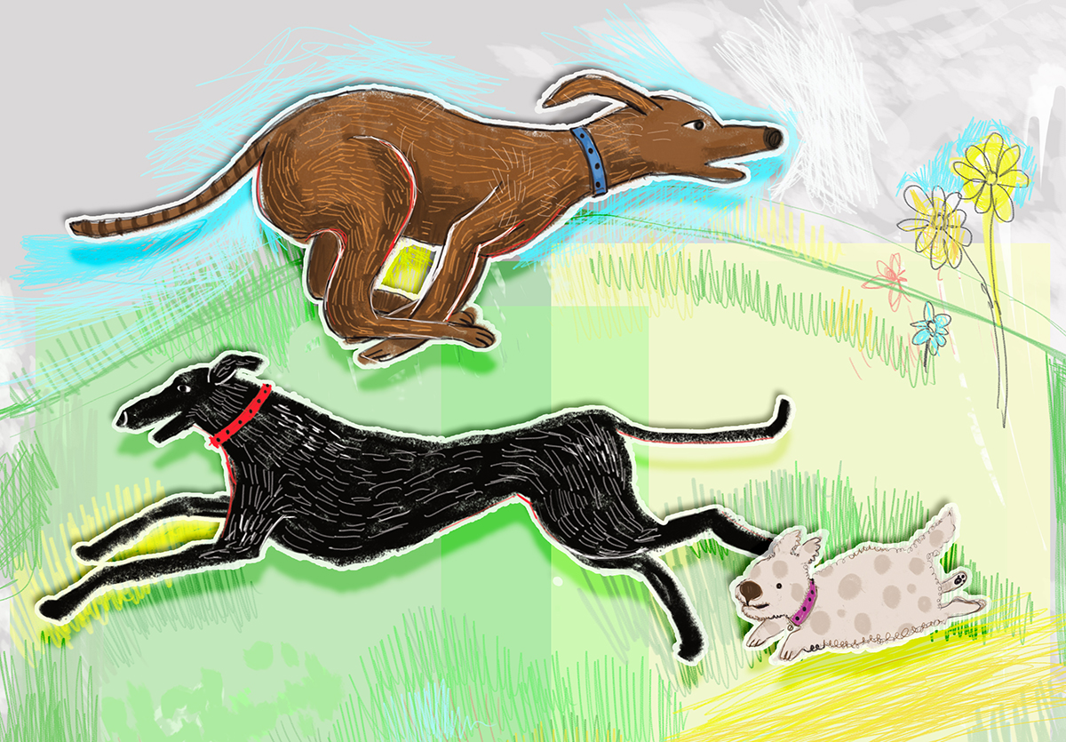 Running dogs illustration by Yermit
