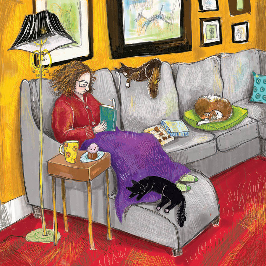 the artist reading on a sofa with cats